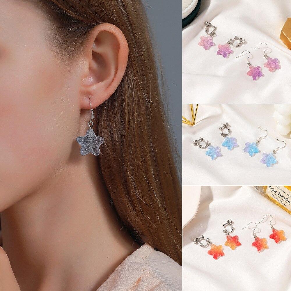 Оптовая продажа, корейские модные красивые градиентные серьги-подвески в виде звезды из смолы, конфетная отделка, милый подарок для женщин