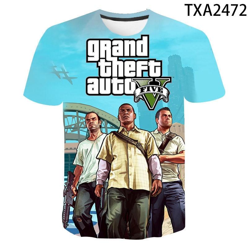 2020 New 3D Print Grand Theft Auto Game Gta 4/5 Printed T Shirt Men Women Children Short Sleeve T-Shirt Boy Girl Kids Tops Tees