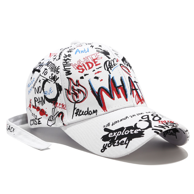 NIANKA002 New Women Girl Hip-hop Print <font><b>Baseball</b></font> <font><b>Caps</b></font> Men's <font><b>Sport</b></font> Casual Snapback Hats Gorros Graffiti With Tail image