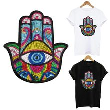 Colorful Hamse hand Of Fatima Iron On Patches For Clothing Garment Accessory Sewing On Clothes Mandalas Hand Sequins Embroidery