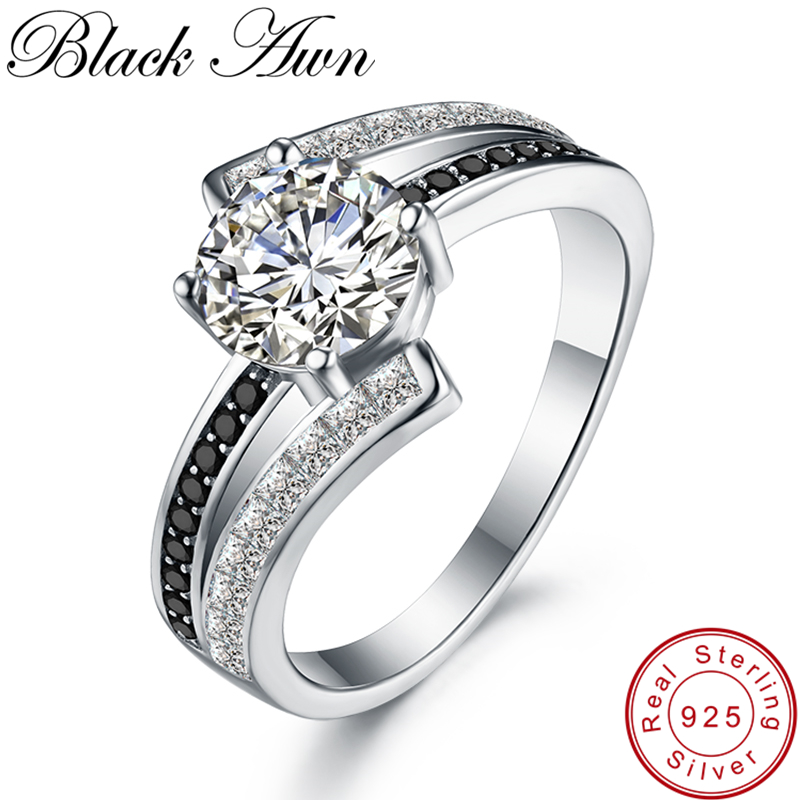 [BLACK AWN] Real 100% 925 Sterling Silver Jewelry Black Spinel Wedding Rings For Women Femme Ring Bague Gift C334