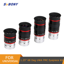 """4 pcs/set Eyepiece Kit FMC 1.25"""" 68 Degree Ultra Wide Angle 6/9/15/20mm for Astronomical Telescope Monocular Hot F9150A"""