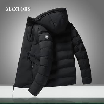 Zimowe nowe męskie parki ciepłe grube kurtki męskie dorywczo wiatroszczelne kurtki płaszcz jednokolorowe męskie wyściełane kurtki odzież z kapturem tanie i dobre opinie MANTORS CN (pochodzenie) Spray-bonded Wata Poliester REGULAR men Vest Jacket mens casual down jackets male warm coats Suknem