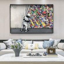 Kinder Liebhaber Hinter Sterben Vorhang Graffiti Kunst Painitngs auf sterben Wand Kunst Poster und Drucke Moderne Street Art Bilder Home dezember