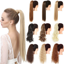 Clip in Hair Ponytail Extension Wig Straight Kinky Curly Long Synthetic Wrap Around Fake Pony Tail Black Blonde False Hairpiece