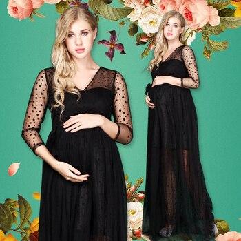 Femmes enceintes Photo Shoot robe col en v noir à pois longue maternité photographie Maxi robes robe fantaisie Photo accessoires
