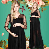 Pregnant Women Photo Shoot Dress V-neck Black Polka Dot Long Maternity Photography Maxi Dresses Gown Fancy Photo Props