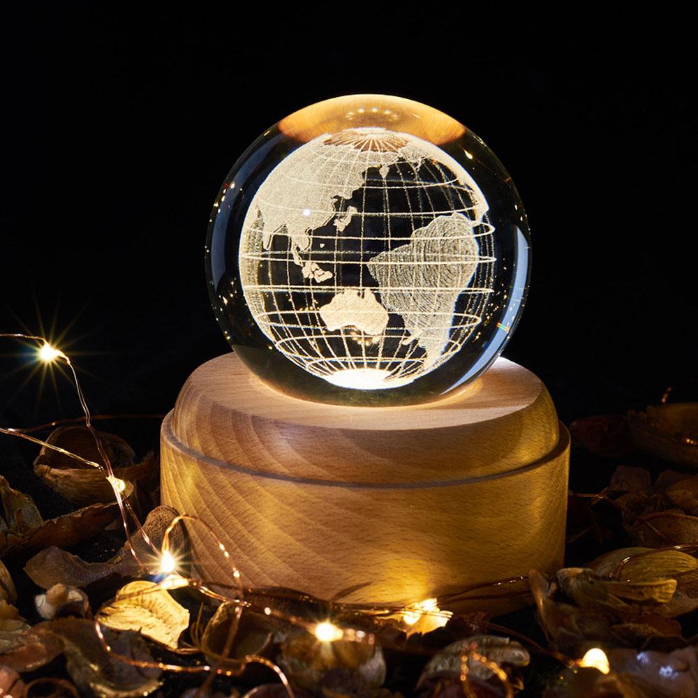 LED Crystal Ball Wooden Luminous Base USB 3D Moon Night Light Birthday Gift Christmas Planetarium Table Decoration Novelty Lamp