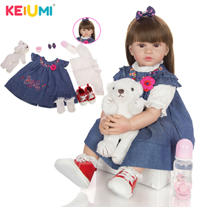 KEIUMI Soft Silicone Reborn Baby Dolls 24 Inch 60 CM Princess Bebe Toys More Choice Wholsale Rebron Dolls Gift To Child(China)