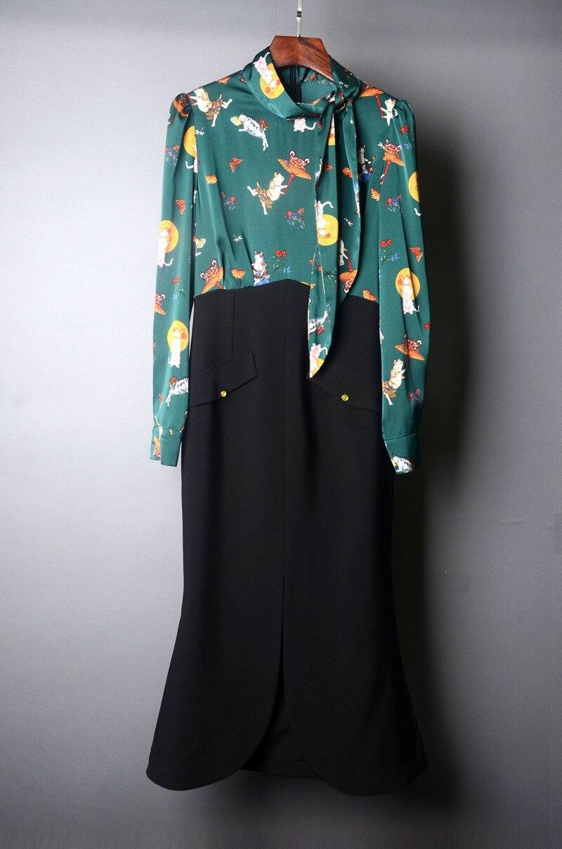 Fashion Runway dress Spring Summer Women's Dress Long sleeve Print Patchwork Package buttocks Mermaid Dresses