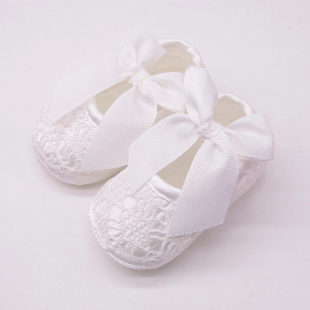 Baby Girls Soft Sole Toddler Shoes Christening Baptism Flower Non Slip Dance Slipper with Bow White 6-12 Months