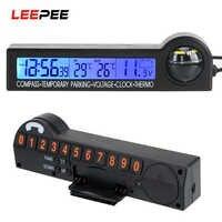 5 En 1 para estacionamiento temporal de coche tarjeta pantalla LCD reloj calendario brújula termómetro Comprobador de tensión retroiluminación pantalla Multi-función