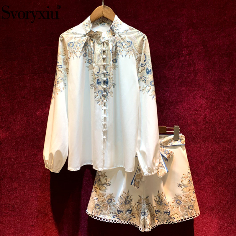 Svoryxiu 2020 New Spring Summer Runway Two Piece Set Women's Elegant Lantern Sleeve Flower Print Blouse + Shorts Suits Fashion