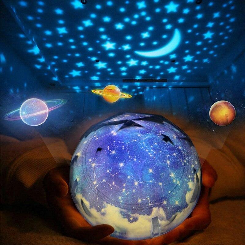 Yıldızlı gökyüzü evren gezegen dönen projektör toprak evren LED lamba renkli döndür yanıp sönen yıldız çocuklar bebek noel hediyesi