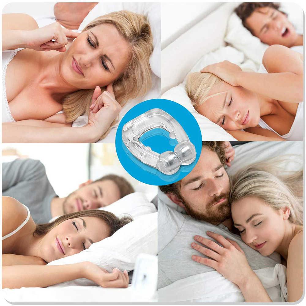 シリコン磁気アンチいびきストップいびき睡眠トレイ援助時無呼吸ガードナイトデバイスとケース