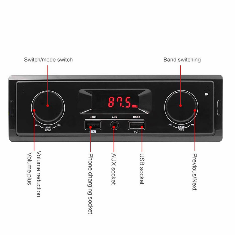12V LED Display 1 Din Car Radio MP3 Player Vehicle Stereo Audio In-Dash USB Aux Input Receiver No Bluetooth Remote Control (1)
