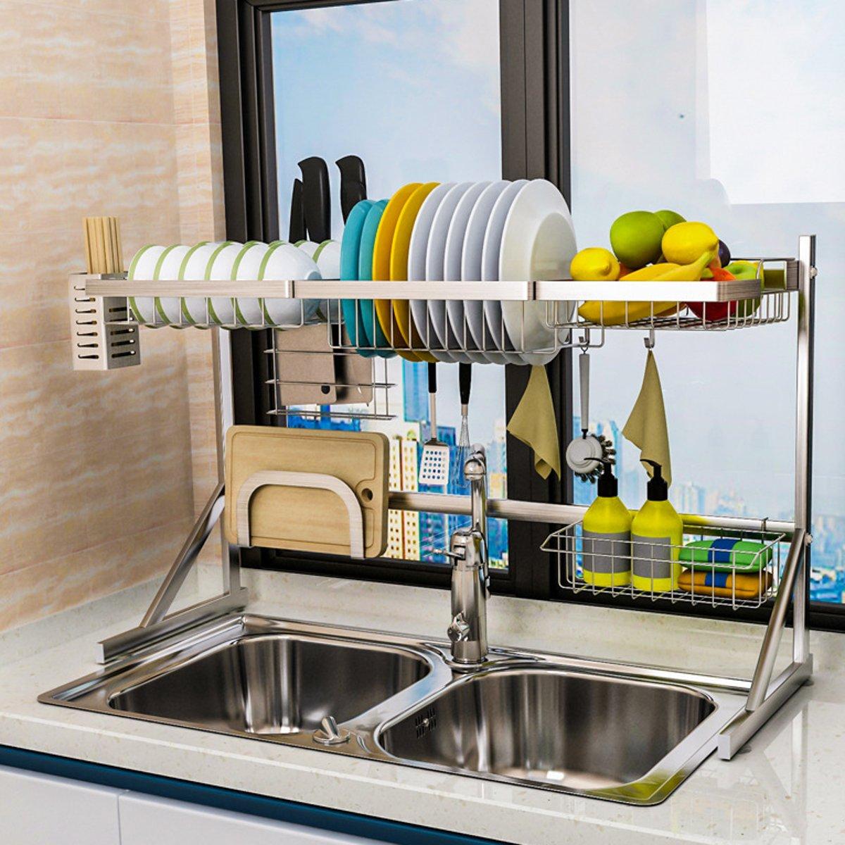 2 Layers Multi-use Stainless Steel Dishes Rack Single Dual Sink Drain Rack Kitchen Oragnizer Rack Dish Shelf Sink Drying Rack