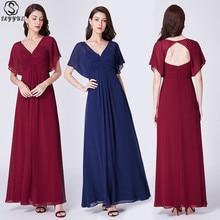 Skyyue Bridesmaid Dress V-neck Short Sleeve Women Party for Girl Plus Size Sexy Hollow Long Robe Demoiselle D Honneur 2019 C488