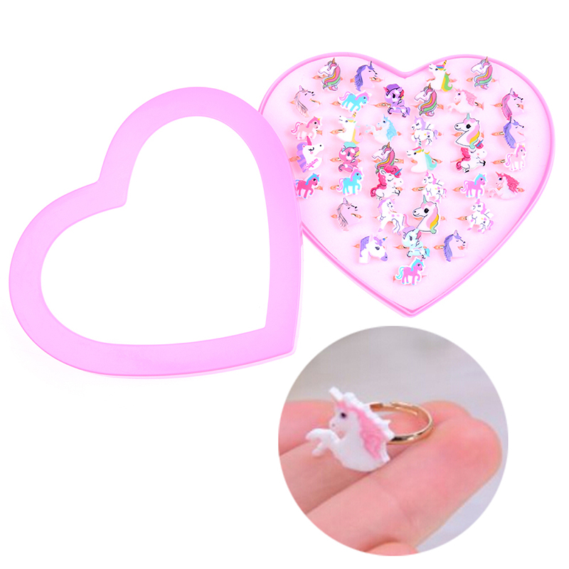 36Pcs Kids Rings Lovely Animal Unicorn Horse Open Ring For Children Girls Adjustable Acrylic Jewelry Party Gift DIY Craft Toy