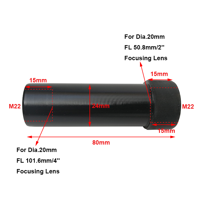 1pc CO2 Laser Head Lens Tube Air Nozzle Lens Diameter 20mm Adjust Focal Length 50.8mm &101mm CO2 Laser Engraving Cutting Machine