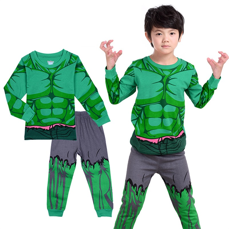 2-10Y Kids Boy Hulk Spiderman Ironman Thor Winter Pyjamas Avengers Sleepwear Clothes Set Child Pijamas Chidren Pajamas Sleepwear