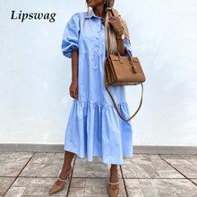 Vestido largo holgado de primavera para mujer, vestido Retro elegante de manga acampanada, con botones, camisa básica