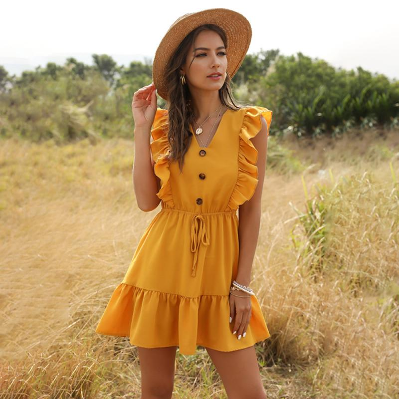 Fashion Dress V-neck Ruffle Bubble Sleeves Yellow Color 4 Sizes Summer New Arrivel Elastic Waist Sleeveless Medium Dress