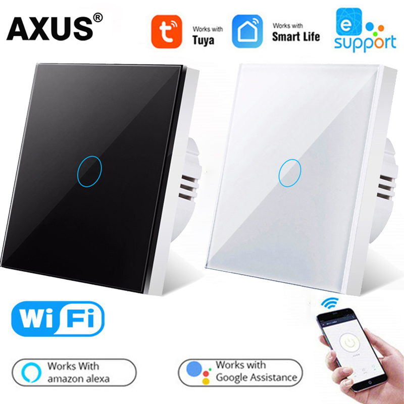 AXUS Tuya Smart Wifi Touch Switch No Neutral Wire Required Smart Home Life wall Light Switch support Alexa Google Voice Control