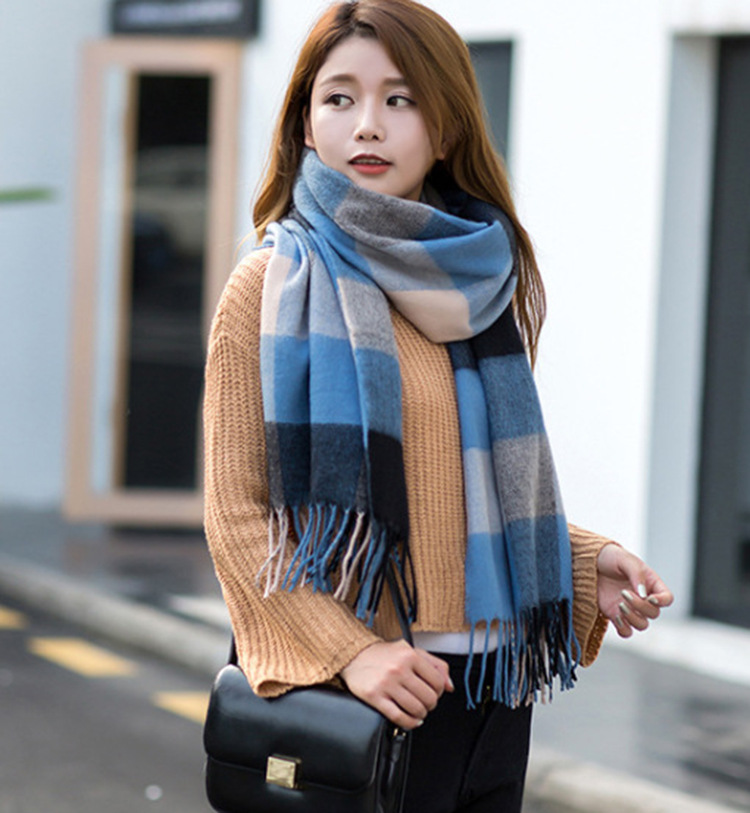 Europe And America Autumn And Winter Goldge Plaid Scarf Faux Cashmere Tassels Plaid Wide Cover Extra-large Scarf Shawl
