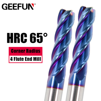 Carbide Corner Radius End Mill Tungsten Steel CNC HRC 65 Milling Cutter Machine Tool 4 Flutes Cutter R0.5 R1 Metal Router yft 2 blade hrc 60 end mill radius 2mm router bit milling cutter carbide shank metal tungsten steel cnc tools