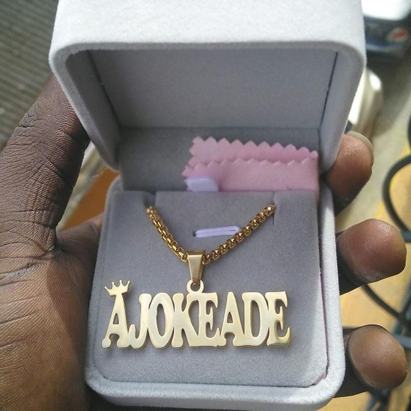 Мужская цепочка из бисера, индивидуальное имя, ожерелье, персонализированная цепочка из нержавеющей стали, жирное женское ожерелье, лучший ...
