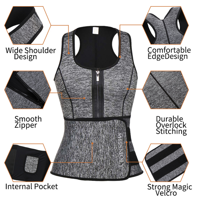Women Neoprene Waist Trainer Sweat Sauna Suit Waist Cincher Slimming Vest Adjustable Waist Trimmer Belt Tank Top Shapewear 2