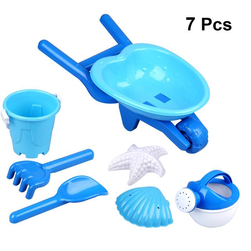 7pcs Kids Beach Toys Set Sand Play Set Sand Toys Cart Bucket Shower Toy Sand Tools Kit Sand Molds(Random Color Random Pattern)
