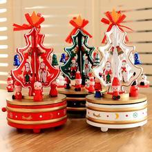 Wooden Christmas Tree Rotating Carousel Music Box K