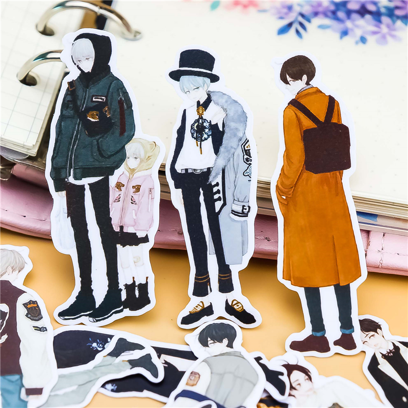 25Pcs Cute Boys Stickers  Kawaii Stationery Fashion Laptop Snowboard Home Decor Car Styling Decal Fridge Doodle Kid Toy Sticker