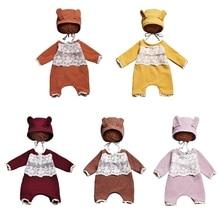 T5EC 2 Pcs Cute Ear Romper Jumpsuit Kit Infants Photo Shooting Clothing Outfits Baby Hat Bodysuit Set Newborn Photography