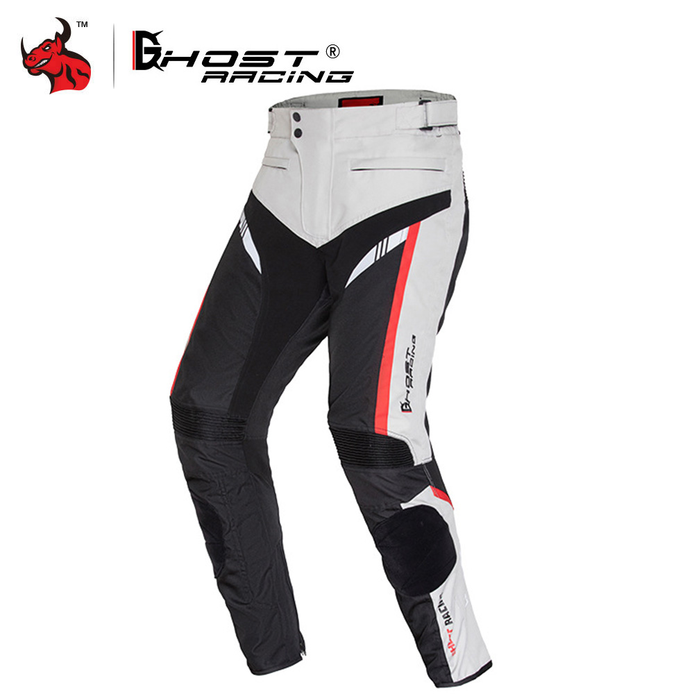 GHOST RACING Motorcycle Pants Men Winter Cold Proof Moto Pants Motorbike Protective Trousers Knee Protective And Cotton Lining