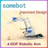 Alguma bot] kit/manipulador de garra robótica 4d de acrílico, controle remoto com joystick, bluetooth, ps2 para arduino