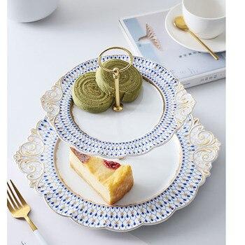 European Minimalist Geometric Pattern Ceramic Fruit Plate Two Layers Ofgoldmulti-layercake Stand Afternoon Tea Dessert Candydish