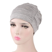 Neue Frauen Baumwolle Modal Baumwolle Kopf Kappe Schlaf Chemotherapie Kappe Basis Elastische Tuch Haar Zubehör Muslimischen Kopftuch