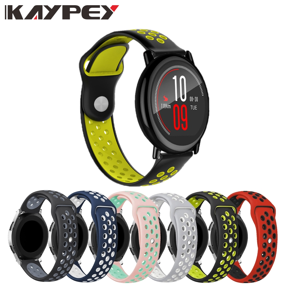 22mm Colorful Soft Silicone Watch Band Strap For Xiaomi Huami Amazfit Pace/ Strato 2s 3 Breathable Bracelet Wristbands Strap