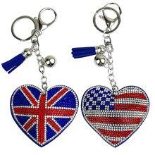Best selling new creative peach heart Korea cashmere flashing color flag pattern keychain Mens bag car key ring pendant