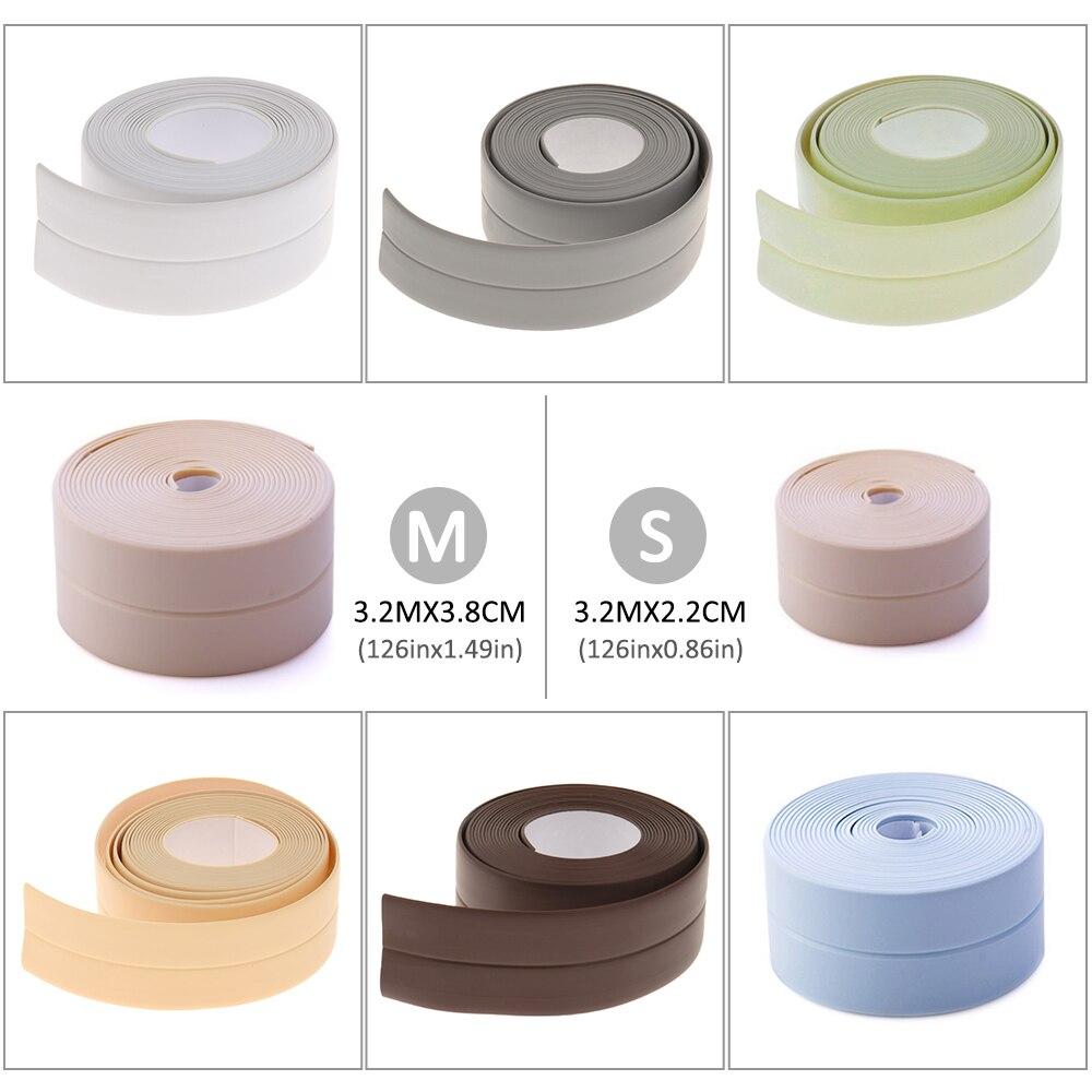 3.2m x 38/22mm New Bathroom Shower Sink Bath Sealing Strip Tape Caulk Strip Self Adhesive Waterproof Wall Sticker for Bathroom