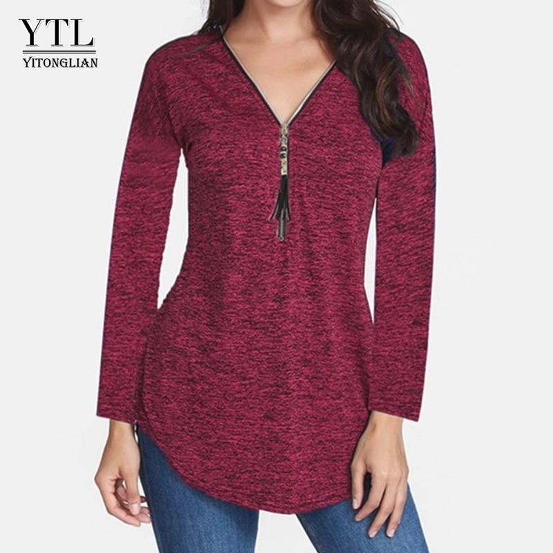 Yitonglian Women's Autumn Fashion Long Sleeve Casual Zip Up Tassel Tunic Tops Plus Size Cotton Blouse for Work H188