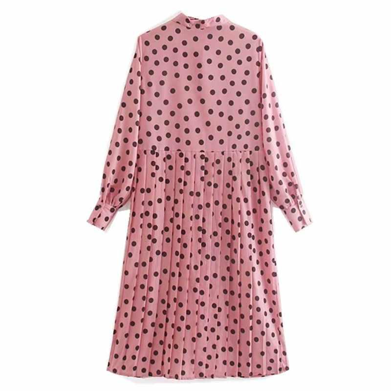 2019 女性 Dem プリーツピンクブラック水玉シャツドレス潮弓襟長袖ルーズミッドカーフロングドレスファム vestido