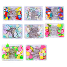100 pçs/caixa pinos de costura bordado retalhos pinos de costura cor misturada retalhos pinos cabeça flor pinos ferramenta costura agulha artes
