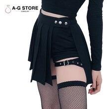 Женская юбка с завышенной талией черная плиссированная А силуэта