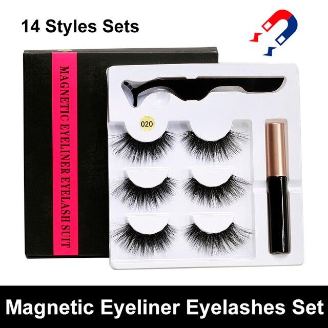 5 Magnet Eyelash Magnetic Liquid Eyeliner&Magnetic False Eyelashes&Tweezer Set Waterproof Long Lasting Eyelash Extension Tools 1