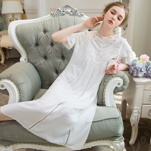 Image 5 - Women Sleepwear Princess Sleeping Skirt Long Sleeve Lace Dress French Court Cotton Retro Victorian Nightgown Elegant Romantic