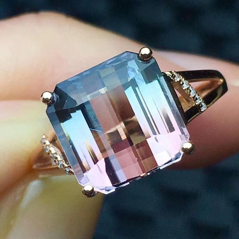 <font><b>Watermelon</b></font> <font><b>Tourmaline</b></font> 6ct <font><b>Ring</b></font> 18K Gold AU750 100% Natural <font><b>Watermelon</b></font> <font><b>Tourmaline</b></font> Gemstone Female <font><b>Rings</b></font> for Women Fine <font><b>Ring</b></font> image